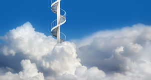 Spiral Stairs in Sky. Spiral stairs in blue cloudy sky to heaven Royalty Free Stock Image