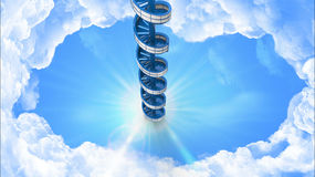 Spiral stairs in the sky Stock Photo