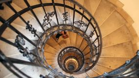 The Spiral stairs St.Stephen`s Basilica. Budapest, Hungary. The Spiral stairs St.Stephen`s Basilica Budapest Hungary stock footage