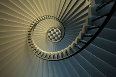 Spiral stairs. Upside view of a spiral staircase. 3D render illustration Stock Photo