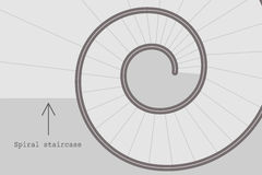 Spiral stairs vector. Minimalistic black and white illustration of spiral stairs abstract. Flat design vector of round steps with architectural sign Royalty Free Stock Image