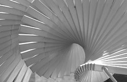 Spiral stairway to heaven. Black and white stylized spiral abstract sculpture Stock Photos