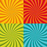 Spiral starburst, sunburst background set. Lines, stripes with twirl, rotating distortion effect. Red, yellow, green and Royalty Free Stock Photos