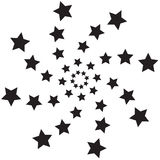 Spiral  stars. Black spiral graphic with waved  stars  label Royalty Free Stock Photos