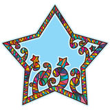 Spiral stick frame star shape. This illustration is drawing star shape with spiral stick the frame and decoration with stars and colorful striped Royalty Free Stock Photography