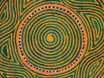 Spiral stitching. Orange and green design closeup on hat Royalty Free Stock Photo