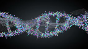 Spiral strand of DNA. On the dark background stock illustration