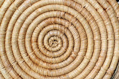 Spiral straw mat background. Stock Photo