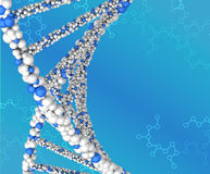 Spiral structure DNA on abstract blue background Stock Images