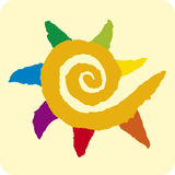 Spiral sun (vector). Sun multicolored (vector) made with recorted paper royalty free illustration