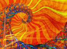 Spiral with sunny colouring. A Fractal can be described as a geometric pattern that is repeated at ever smaller scales to produce irregular shapes and surfaces Stock Photography