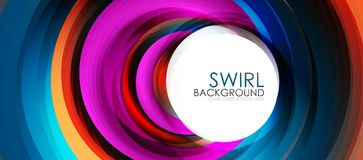 Spiral swirl flowing lines 3d effect abstract background. Vector digital business or techno motion template Stock Photos