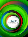 Spiral swirl flowing lines 3d effect abstract background. Vector digital business or techno motion template royalty free illustration