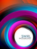 Spiral swirl flowing lines 3d effect abstract background. Vector digital business or techno motion template Royalty Free Stock Photos