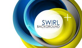 Spiral swirl flowing lines 3d vector abstract background Royalty Free Stock Photo