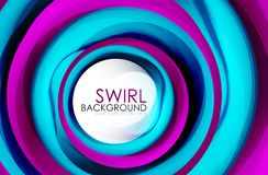 Spiral swirl flowing lines 3d vector abstract digital motion background design. Rotating concept. Vector illustration Royalty Free Stock Photography