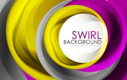 Spiral swirl flowing lines 3d vector abstract digital motion background design. Rotating concept. Vector illustration Stock Image