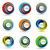 Spiral swirl flowing lines 3d vector abstract icon collection. Spiral swirl flowing lines 3d vector icon collection. Vector illustration Stock Images