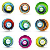 Spiral swirl flowing lines 3d vector abstract icon collection. Spiral swirl flowing lines 3d vector icon collection. Vector illustration Royalty Free Stock Photography