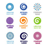 Spiral and swirl logos vector set. Company name spiral label, badge logo spiral color, emblem color business logo, spiral or swirl cyclic illustration vector illustration