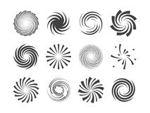 Spiral and swirl motion twisting circles design element set. Vector illustration Royalty Free Stock Image
