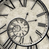 Spiral of time. Twisted watch. Royalty Free Stock Photography