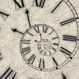Spiral of time. Twisted watch. stock images