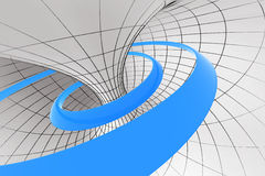 Spiral in torus. Blue abstract spiral inside the torus Stock Photo
