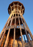 Spiral Tower in Lausanne Switzerland. A beautiful spiraling wooden lookout tower in Lausanne Switzerland overlooking Lake Geneva Stock Image