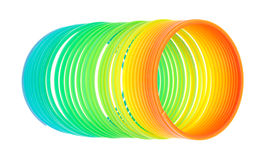 Spiral Toy On White Background Partially Uncoiled Royalty Free Stock Image