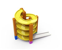 Spiral track in stacking blocks, 3D illustration Stock Photos