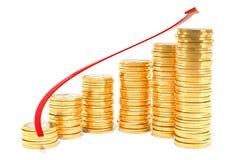 Spiral trappa från euromynt med den röda pilen för tillväxt, renderin 3D Royaltyfria Bilder