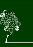 Spiral tree. Green backgroud with a white spiral tree Royalty Free Stock Photo
