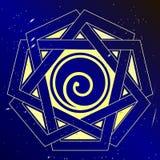 Spiral vector illustration, sacral art. Spiral cosmic  vector illustration, sacral spiritual art Royalty Free Stock Photos
