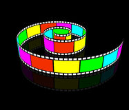 Spiral videotape. Camera Roll spirally twisted. Cinematographic film Royalty Free Stock Photos