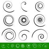 Spiral, vortex element set. 9 different circular shapes. Spiral royalty free illustration