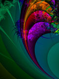Spiral wave with bright colours. A Fractal can be described as a geometric pattern that is repeated at ever smaller scales to produce irregular shapes and Stock Image