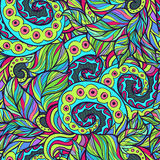 Spiral and Wavy Leaves Doodle Pattern Stock Photography