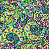Spiral and Wavy Leaves Doodle Pattern Royalty Free Stock Photo