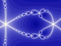Spiral ways. White spirals forming star shapes on blue background Stock Illustration