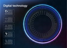 Spiral whirlpool data flow circulation, neon, dark, ultraviolet, abstract background. Vector Illustration. Royalty Free Illustration