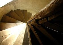Spiral wood stairs. Wood stairs from an old church Stock Image