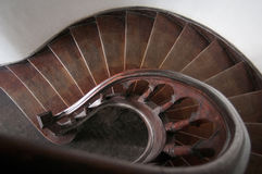 Spiral wood stairs. Vintage spiral wood stairs in detail Royalty Free Stock Photo