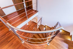 Spiral wooden stairs Stock Images
