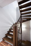 Spiral wooden stairs Stock Photos