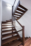 Spiral wooden stairs Royalty Free Stock Images