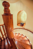 Spiral wooden stairs Stock Photo
