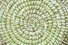 Spiral woven straw texture background. The texture of a woven spiral made of straw and bamboo stock image