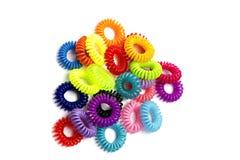Spirala elastiska gummiband för hår fotografering för bildbyråer