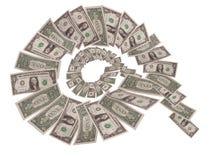 Spirala fallande dollar på vit bakgrund Royaltyfri Fotografi
